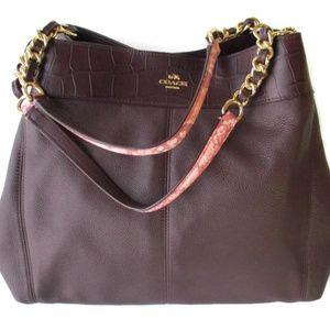 Coach Exotic Lexy Brown Oxblood Shoulder Bag